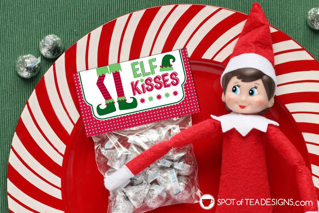 Printable Christmas Bag Toppers - Elf Kisses | spotofteadesigns.com