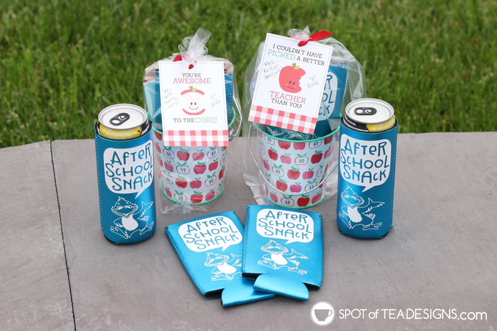 Teacher appreciation gift idea: personalized slim can cozy featuring the school mascot | spotofteadesigns.com