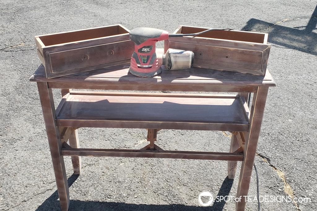 Entryway table makeover. Brown to white with step by step photos - sanding | spotofteadesigns.com