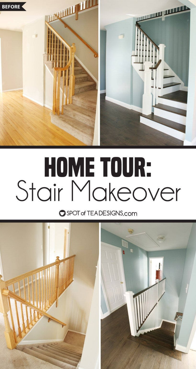 Home Tour | stair makeover showcasing an update of an outdated carpeted stairwell to a modern look | spotofteadesigns.com