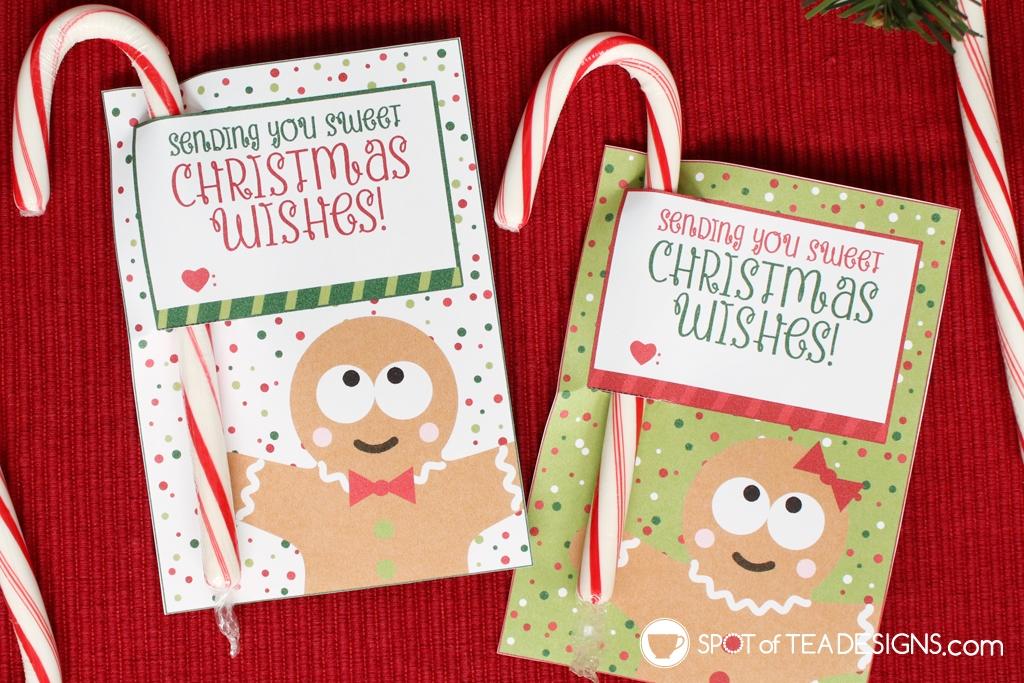 Christmas printables | gingerbread man candy cane holders | spotofteadesigns.com