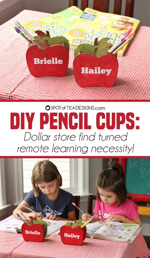 Apple Pencil Cups - kid painted and made for homeschool classroom | spotofteadesigns.com