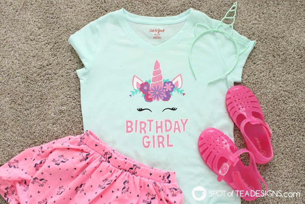 Unicorn birthday girl t-shirt with free svg cut file   spotofteadesigns.com