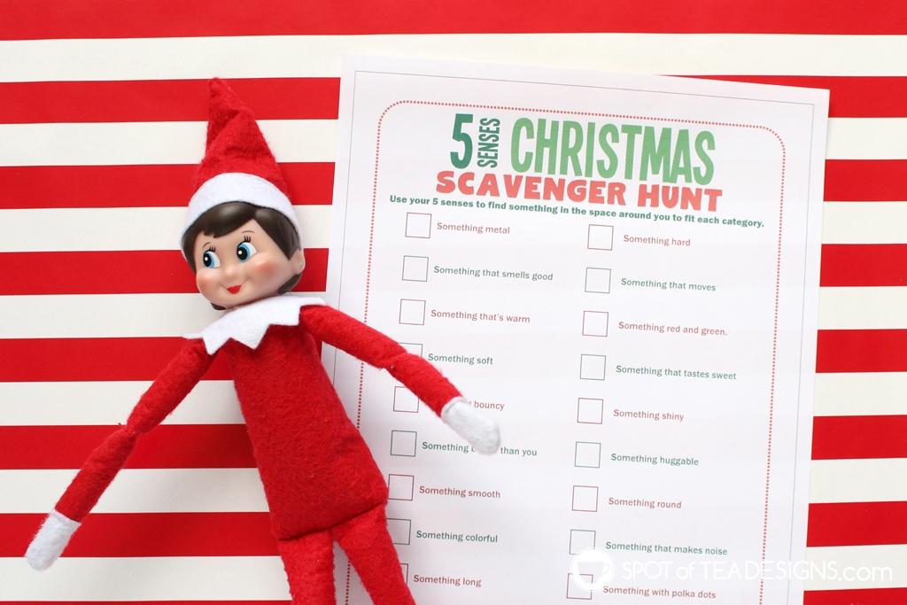 Elf on the shelf idea | 5 senses Christmas scavenger hunt free printable activity sheet | spotofteadesigns.com
