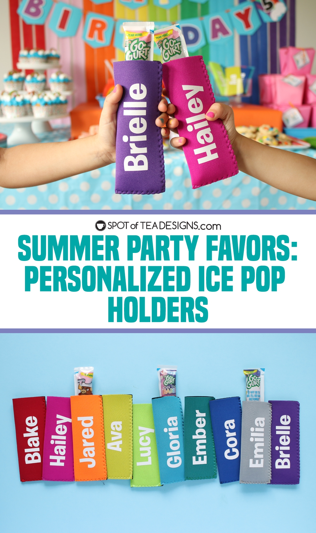Summer party favors: personalized ice pop holders | spotofteadesigns.com