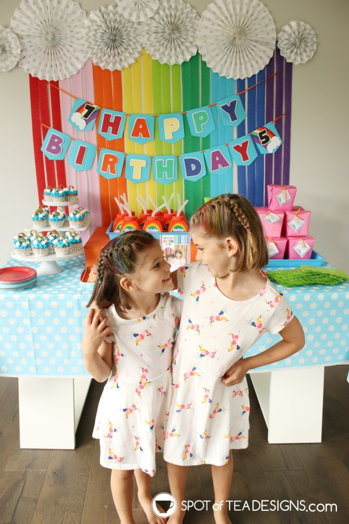 Rainbow Birthday Party - Birthday girls | spotofteadesigns.com