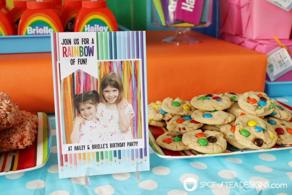 Rainbow Birthday Party - invitation | Spotofteadesigns.com