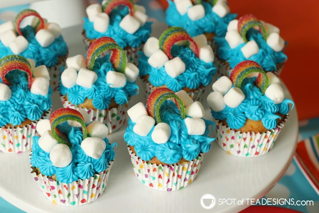 Rainbow Birthday Party - rainbow cupcakes | Spotofteadesigns.com