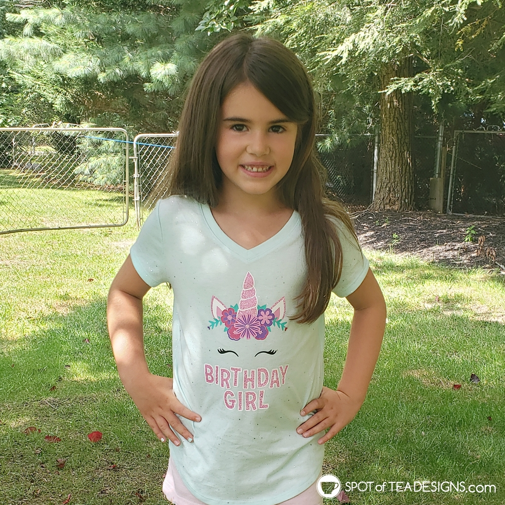 Unicorn birthday girl t-shirt with free svg cut file | spotofteadesigns.com