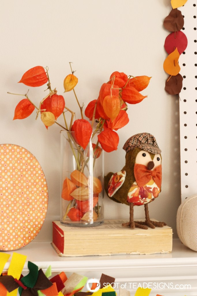 DIY Fall Mantle - dried chinese lanterns | spotofteadesigns.com