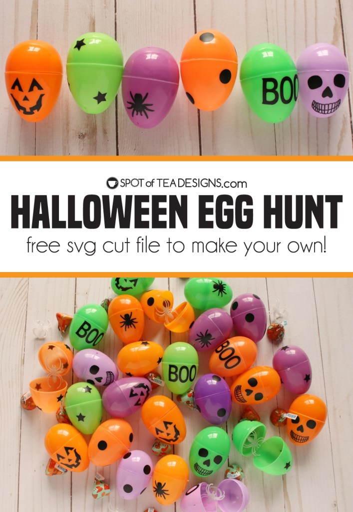 Halloween Egg Hunt - add vinyl using the free SVG to make plastic eggs into halloween theme | spotofteadesigns.com