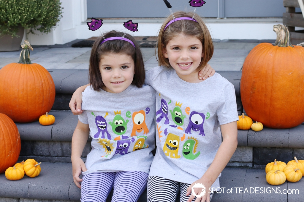 DIY Monster T-shirt made with freezer paper stencil and fabric paints | spotofteadesigns.com
