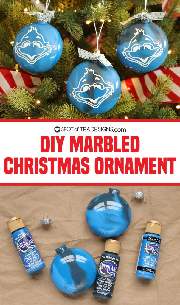 Marbled Christmas Ornaments Tutorial | spotofteadesigns.com