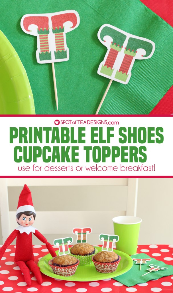 Printable elf shoes cupcake toppers - use for desserts or welcome breakfast! | spotofteadesigns.com