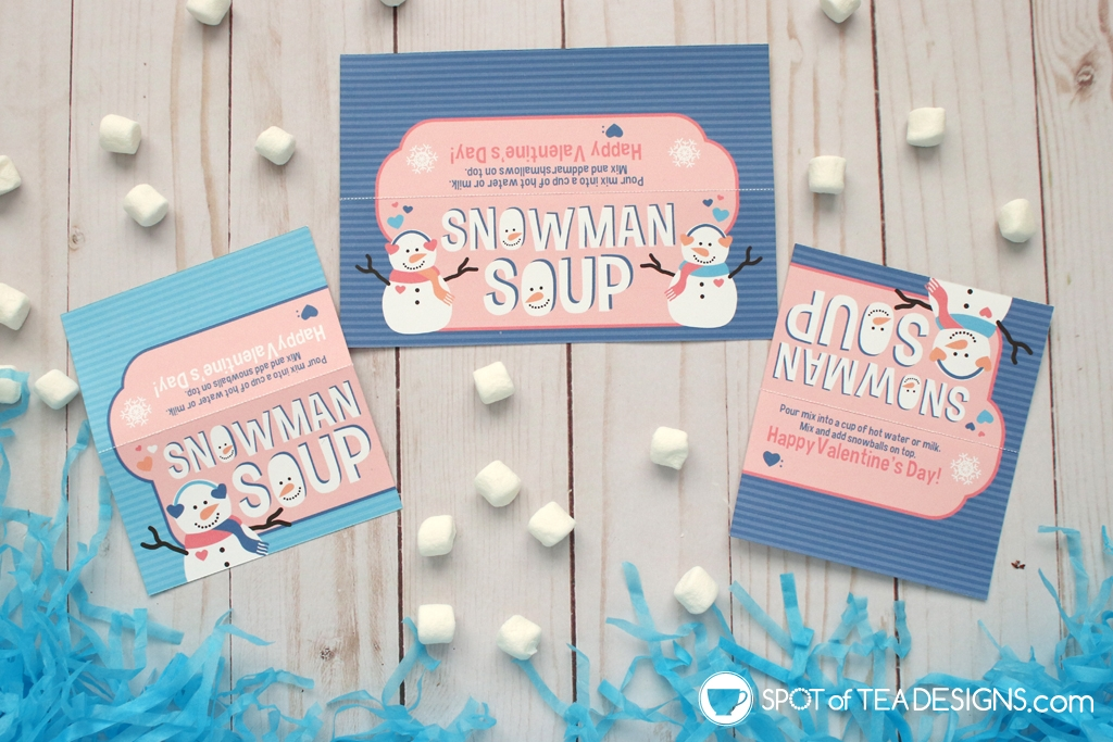 Printable Valentine Snowman Bag Toppers - Snowman Soup for Valentine's Day | spotofteadesigns.com