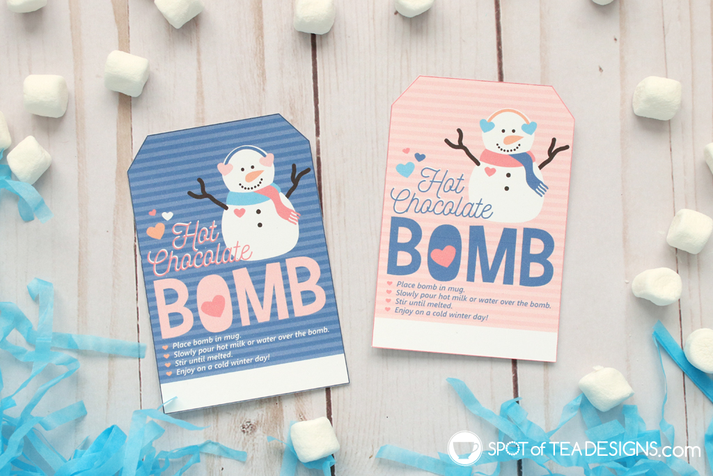 Printable Valentine Snowman Bag Toppers - Hot Chocolate Bomb tags | spotofteadesigns.com