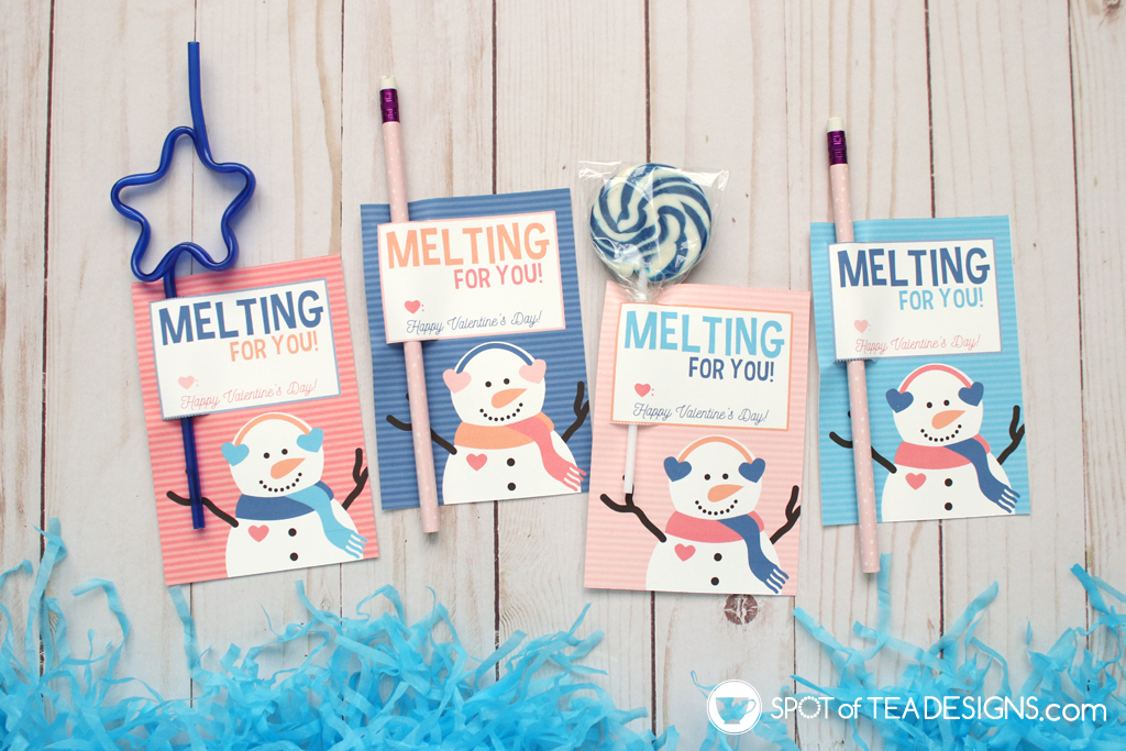 Printable Valentine Snowman Bag Toppers - Pencil or lollipop holders   spotofteadesigns.com