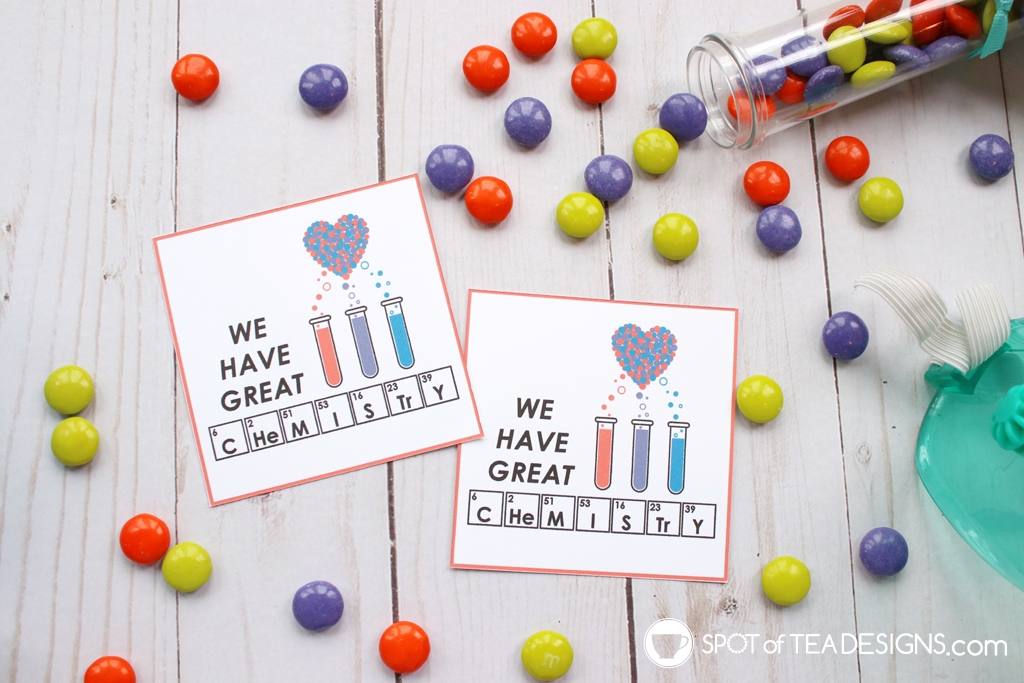 We have great chemistry printable valentine's day tags | spotofteadesigns.com