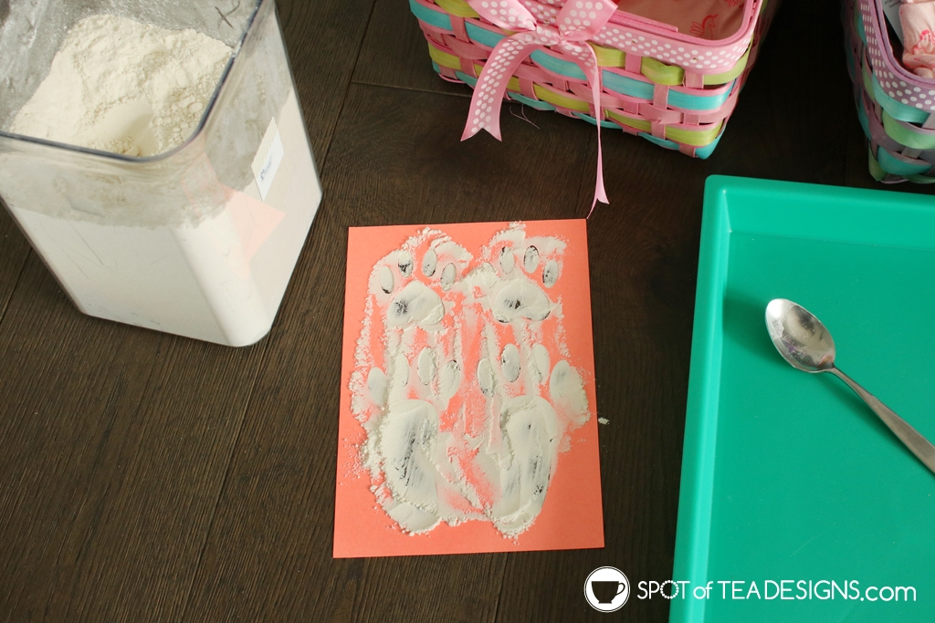Easter Bunny Footprints Stencil - both PDF and SVG files available for free! Just add flour to make the magic! | spotofteadesigns.com