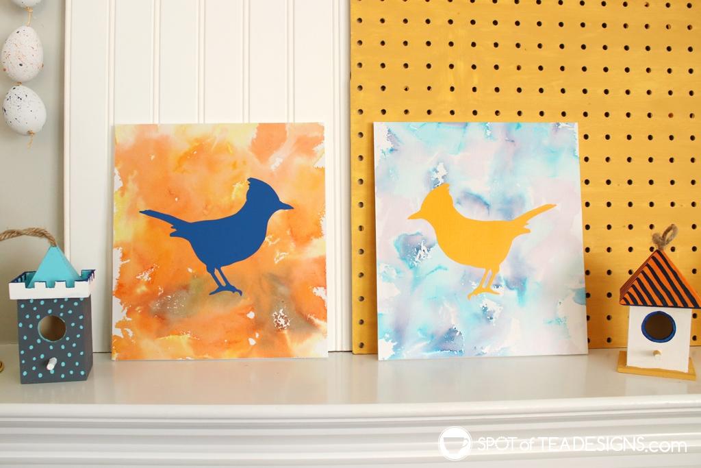Spring Mantle Craft - Bleeding Tissue Paper Art | spotofteadesigns.com