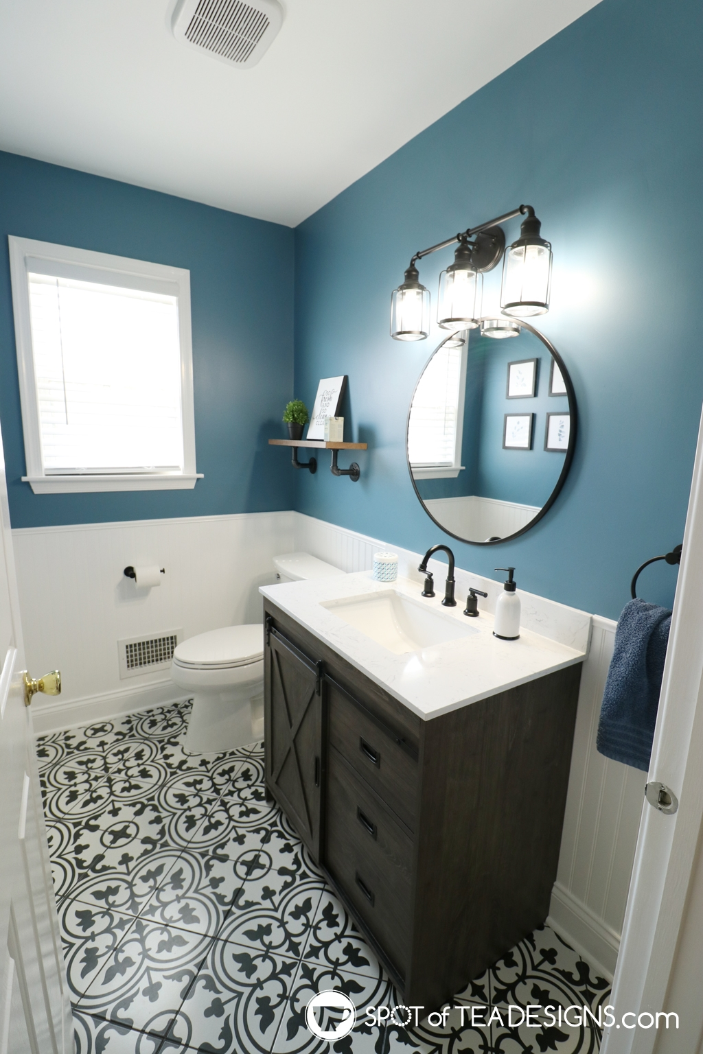 Modern half bathroom remodel - after photos of the finished space with resources | spotofteadesigns.com