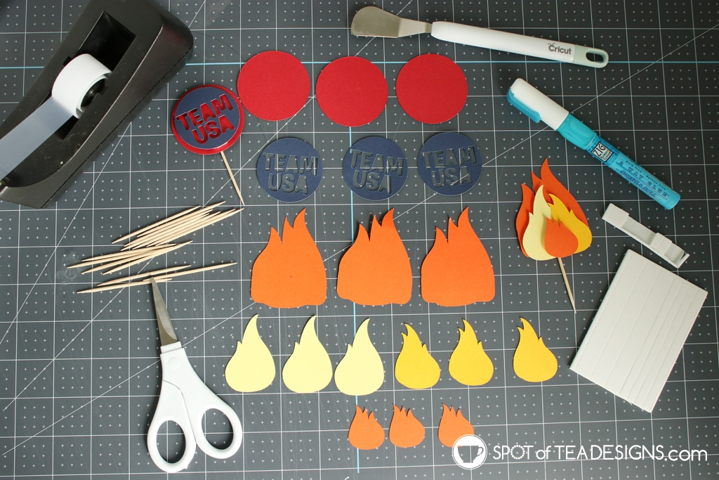 Olympic Torch Cupcakes with Free SVG cut file toppers | spotofteadesigns.com