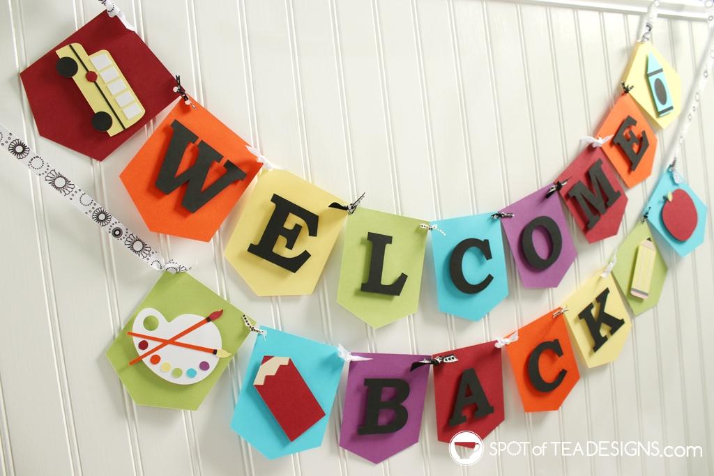 Welcome back to school cardstock banner | spotofteadesigns.com