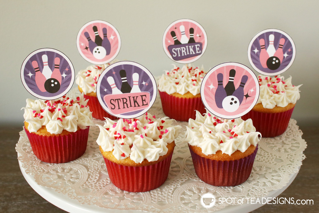 Girl bowling party - printable cupcake toppers   spotofteadesigns.com