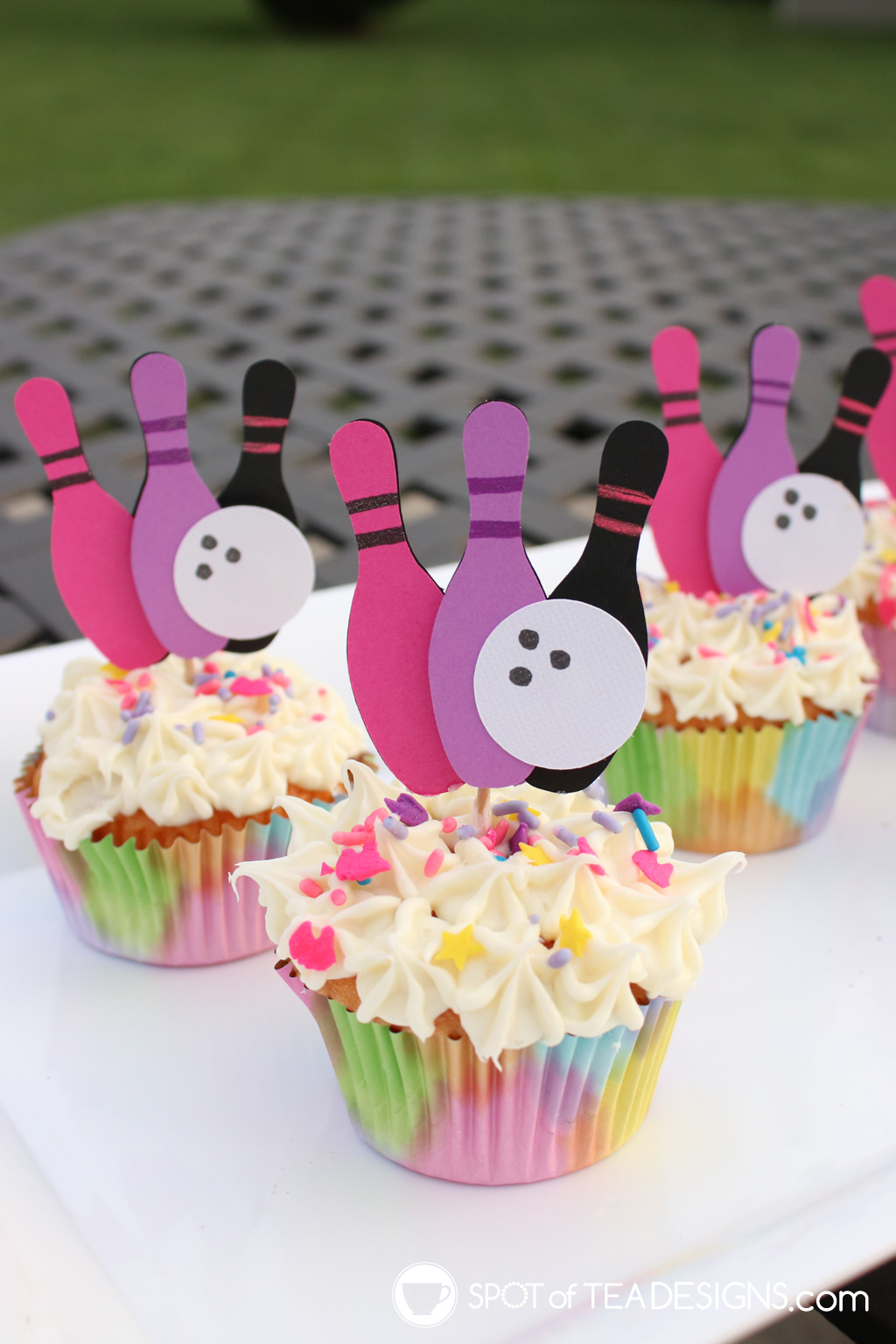 girls bowling party cupcake toppers | spotofteadesigns.com