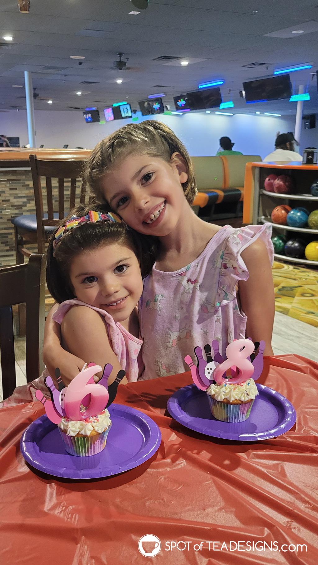 girls bowling party cupcakes | spotofteadesigns.com