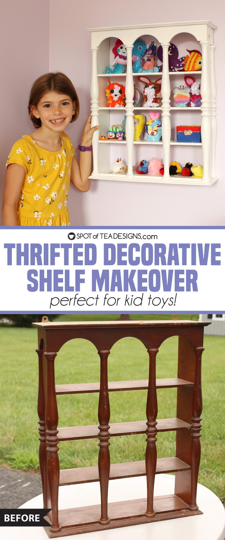 Thrifted Decorative Shelf Makeover | spotofteadesigns.com