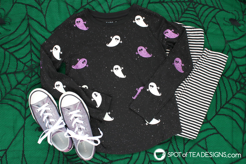 Glow-in-the-dark Ghost T-shirt with free svg cut file | spotofteadesigns.com
