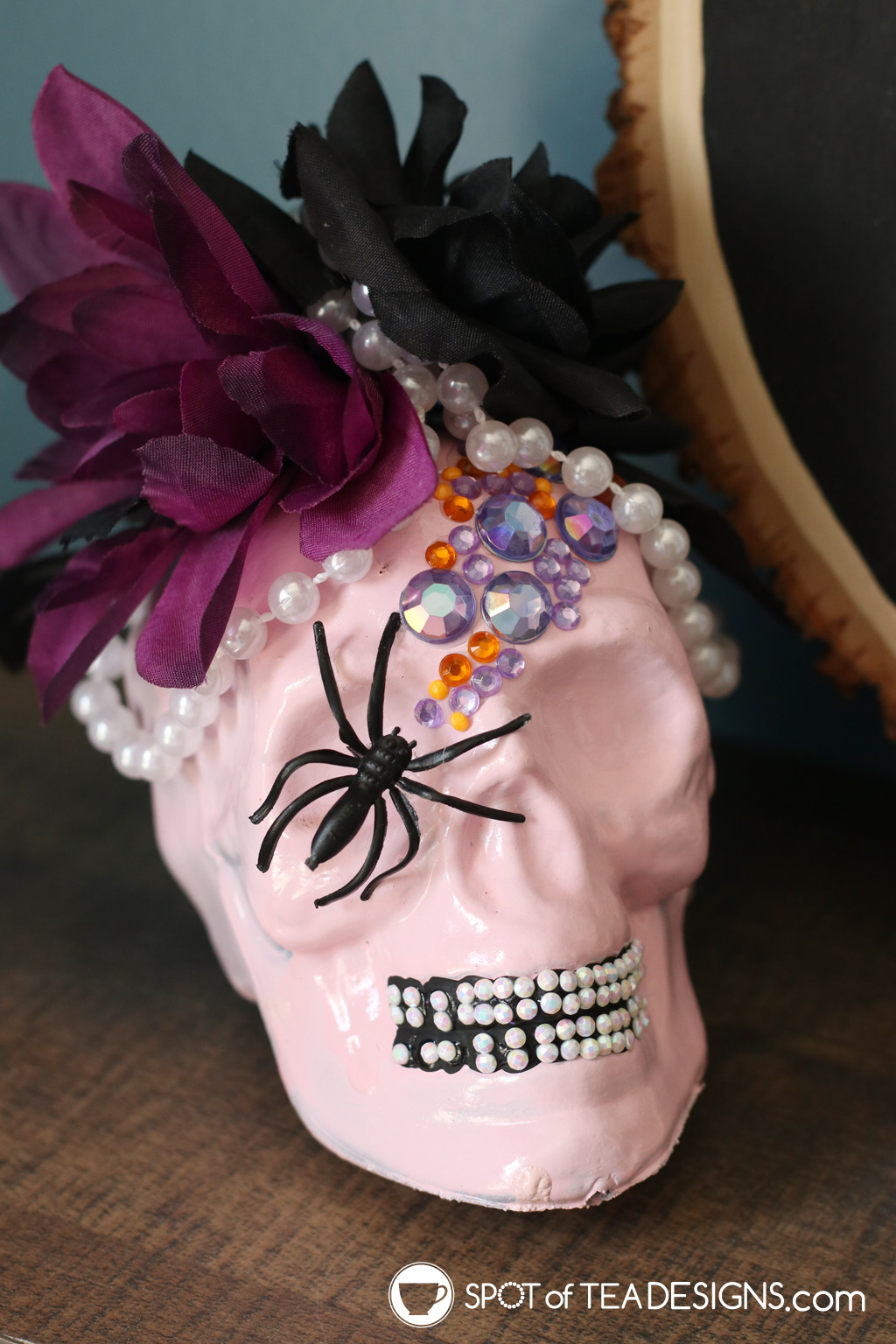 DIY Pastel Halloween Skull Decor | spotofteadesigns.com