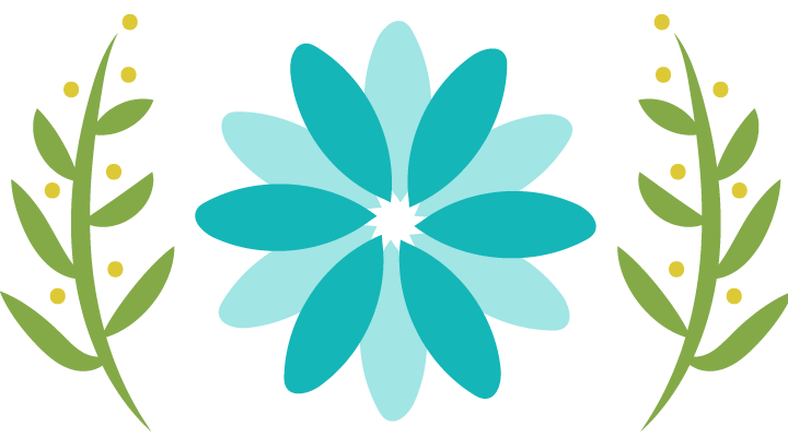 Multi-petal two-toned teal coloured flower with branches logo for Spot On Acupuncture Edmonton