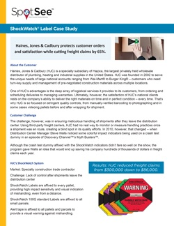 HJC protects customer orders & cuts freight claims: ShockWatch Label