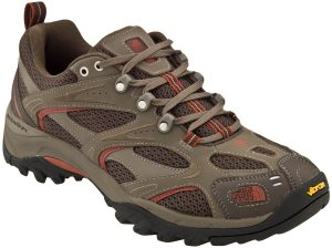 Hiking shoe. More supportive than a trail-running shoe and lighter than a hiking boot.