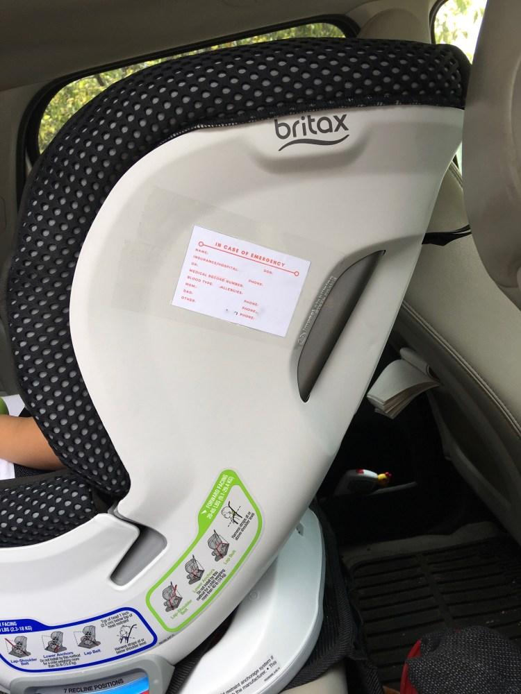 ICE Car Seat Label - www.spousesproutsandme.com