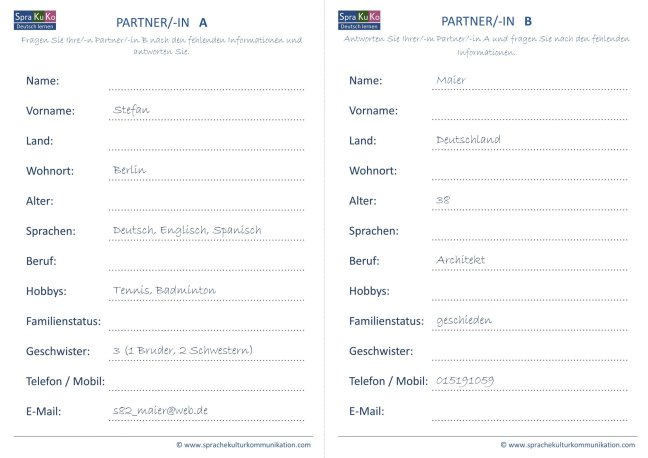 Sprechanlass Kommunikation Partnerübung A1 Kopiervorlage DaF