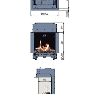 Faber MatriX 450/500 III Gas Fire 3 Sided