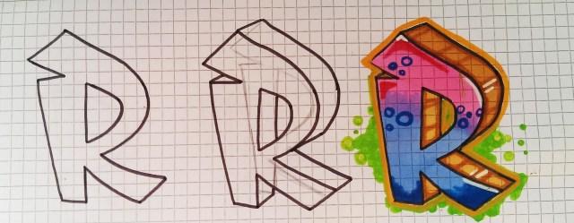 Graffiti Buchstaben zeichen Schritt für Schritt 2