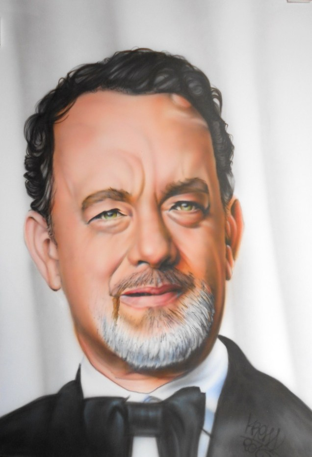 tom hanks, aérographie sur papier fabriano, 50 x 70cm, Disponible , Krem 2016.
