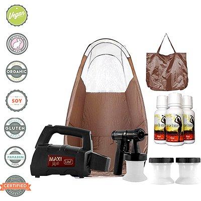 Maxi-Mist Lite Plus HVLP Sunless Spray Tanning KIT Tent Machine - Brown