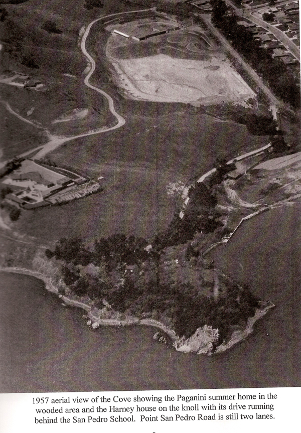 Mid-point on left edge of photo is Chuck Harney home, where four 2500' homes stand today. Top right is Loch Lomond or Villa Real, which used to be owned by the Paganinis. Most of this photo is the Cove today. On Paganini Point (bottom right) is the 10,008' Paganini house.