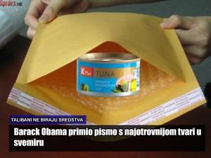 Podsjetimo, kako smo ekskluzivno izvjestili, u travnju ove godine upravo je K+ tuna korištena u pokušaju atentata na američkog predsjednika Obamu. Nastradao je tada osobni kušač hrane američkog predsjednika kojem su tri dana nakon konzumacije otpale obje ruke, a zbog intoksikacije glupaminom još i danas tvrdi da postoji razlika između Obame i Busha mlađeg.