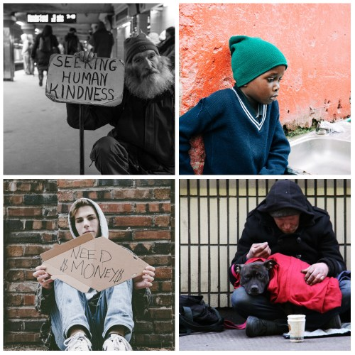 Four photos of homeless persons: an elderly man, a young boy, a teen male and a man with his dog.