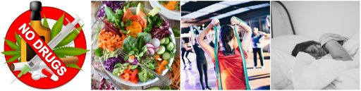 Four photos in one. First, a no drugs sign. second a  veggie salad, third people stretching in an exercise class and last a woman sleeping. This combined photo depicts healthy choices to combat chronic disease.