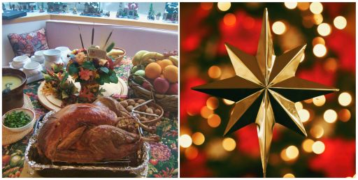 Two photos representing the holiday season. The first is of a thanksgiving dinner. The second photo is of a gold star Christmas tree topper.