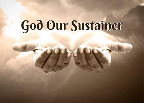 Brown and white photo of two opened hands reaching out from the clouds. Photo represents the hands of God our sustainer.