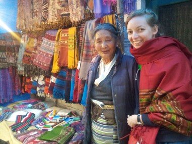 with the Tibetan shawls lady