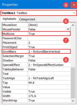 Set up a scrollbar